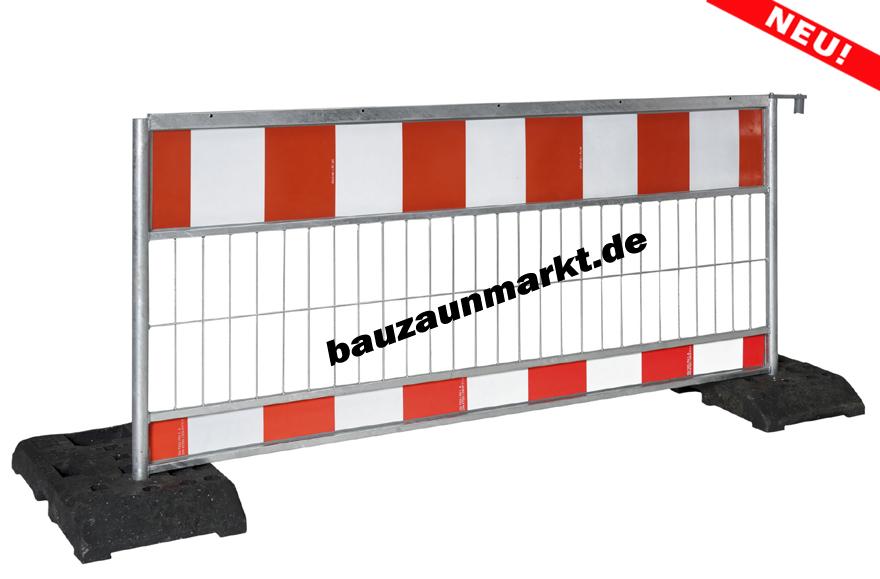 TL-Schrankenzaun-Set, Absperrgitter aus Stahl/Alu mit 2 Bakenfuessen